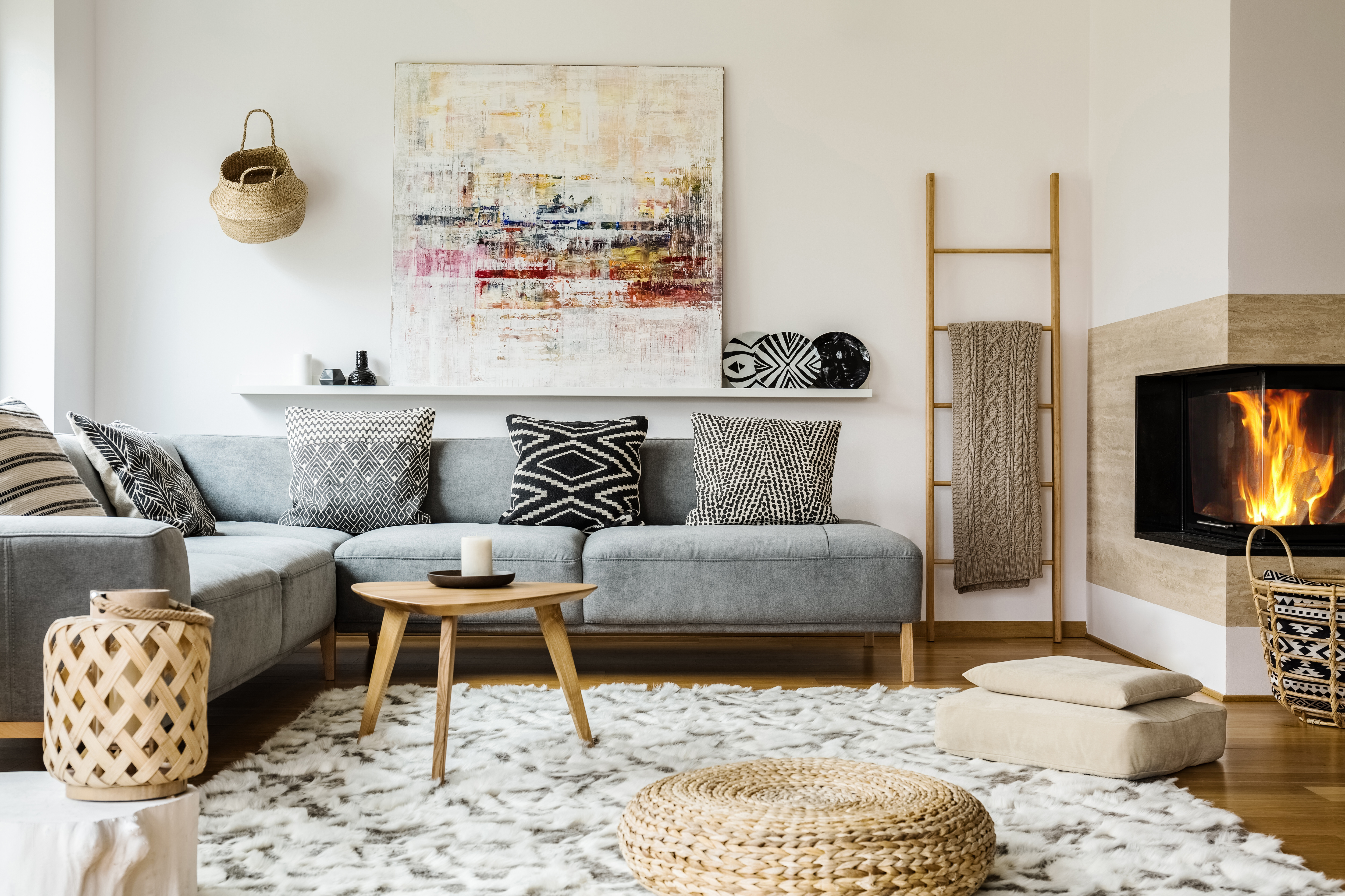 A trendy clean living room